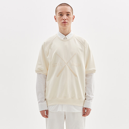 PADDLE EMBROIDERED HALF CREW_IVORY